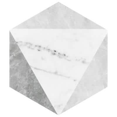 Classico Carrara Hexagon Peak 7 in. x 8 in. Porcelain Floor and Wall Tile (7.67 sq. ft. / case)