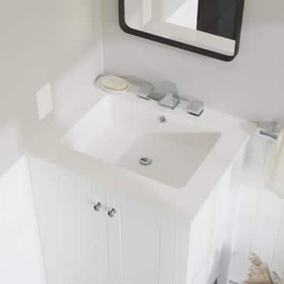 Voltaire 25 in. Vanity Top in Glossy White with 1-Basin
