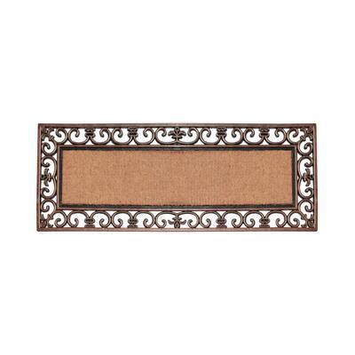 Paisley Border Bronze 17.71 in. x 47.25 in. Rubber and Coir Double Door Door Mat