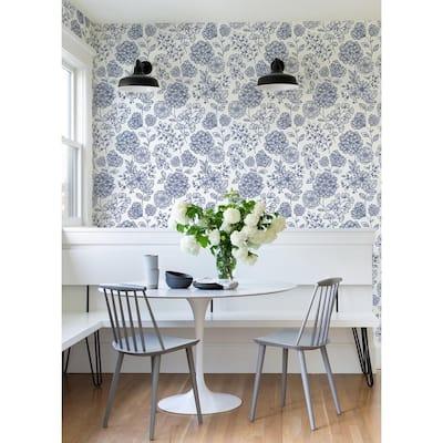 Ada Blue Floral Strippable Non Woven Wallpaper