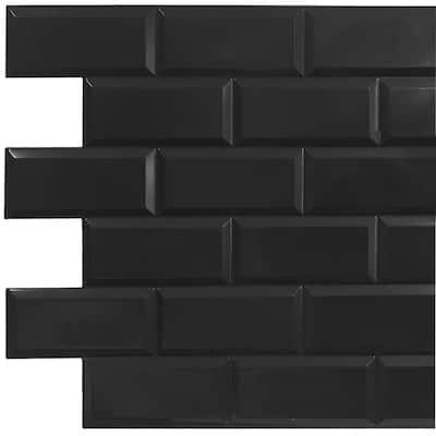 3D Falkirk Retro II 38 in. x 19 in. Black Faux Bricks PVC Wall Panel (10-Pack)