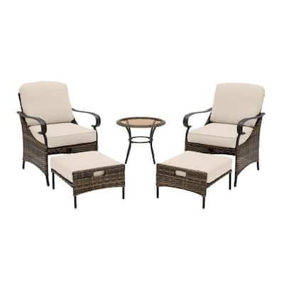 Layton Pointe 5-Piece Brown Wicker Outdoor Patio Conversation Seating Set with Sunbrella Beige Tan Cushions
