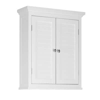 Simon 20 in. W x 24 in. H x 7 in. D Bathroom Storage Wall Cabinet with 2 Shutter Doors in White
