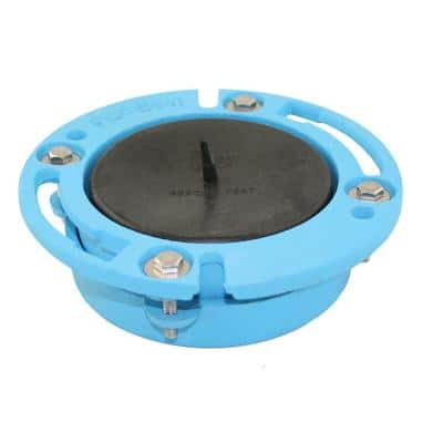 4 in. x 2 in. No Caulk Code Blue Cast Iron Slotted Closet (Toilet) Flange with Test Cap for Cast Iron or Plastic Pipe