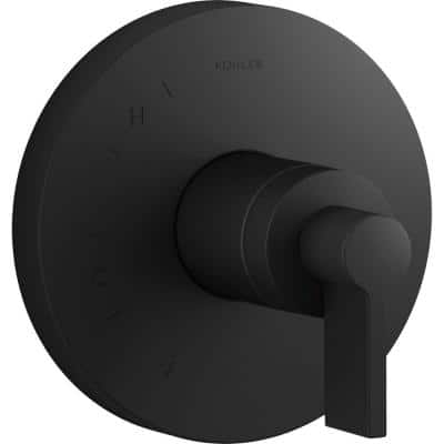 Components Rite-Temp 1-Handle Shower Valve Trim Kit with Lever Handle in Matte Black (Valve Not Included)