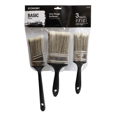 UTILITY 2 in. Flat Cut, 3 in. Flat Cut and 2 in. Angled Sash Utility Paint Brush Set (3-Piece)