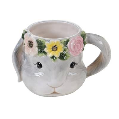 Sweet Bunny 4-Piece Seasonal Multicolored Earthenware 18 oz. Mug Set (Service for 4)
