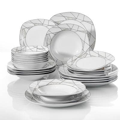 Series Serena 24-Piece White Dinnerware Set Porcelain with 6-Bowls 6-Dessert /Soup /Dinner Plates (Service for 6)