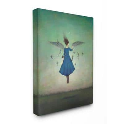 """30 in. x 40 in. """"Beauty and Birds at Night Blue and Teal Illustration"""" by Duy Huynh Canvas Wall Art"""