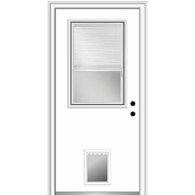 32 in. x 80 in. Internal Blinds Left-Hand 1/2-Lite Clear Primed Fiberglass Smooth Prehung Front Door with Pet Door