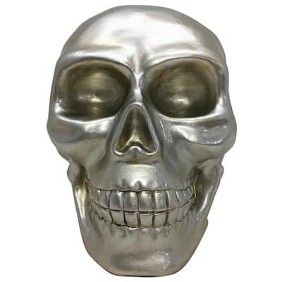 9 in. Indoor/Outdoor Poly Resin Silver Skull