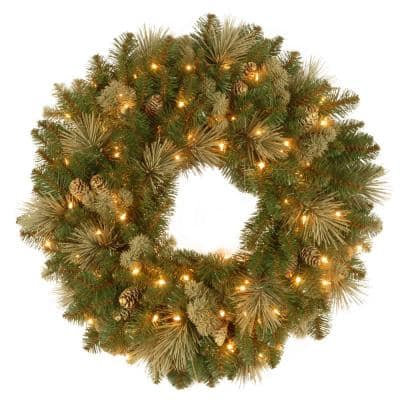 24 in. Battery Operated LED Lights Carolina Pine Wreath