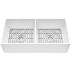 Matte Stone White Composite 36 in. Double Bowl Flat Farmhouse Apron-Front Kitchen Sink with Strainers and Silicone Grids