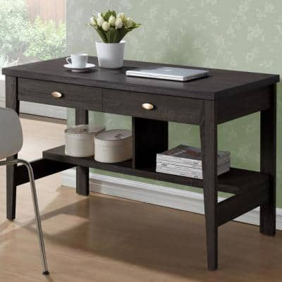 47 in. Rectangular Black/Espresso 2 Drawer Writing Desk with Built-In Storage