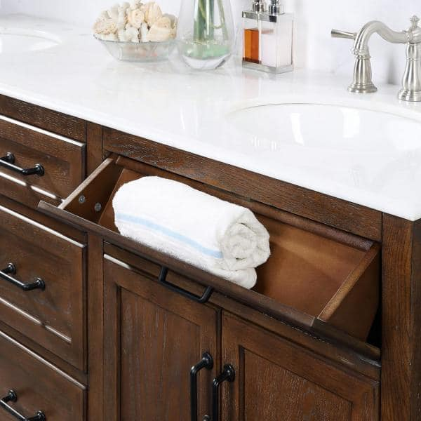 Home Decorators Collection Walden 71 In W Bath Vanity In Driftwood Gray With Vanity Top In White Marble With White Sinks Bf 27046 Dg The Home Depot
