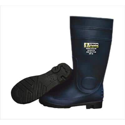 16 in. PVC Boot Unlined Black Upper and Sole Eva Insole Plain Toe Kick Off Spur Size 10