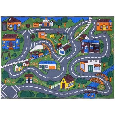 Jenny Collection Grey Road Traffic Design 5 ft. x 7 ft. Non-Slip Kids Area Rug