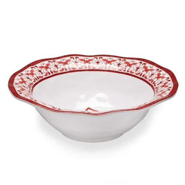 Q Squared Talavera 12 In Red Melamine Serving Bowl 200 83808 The Home Depot