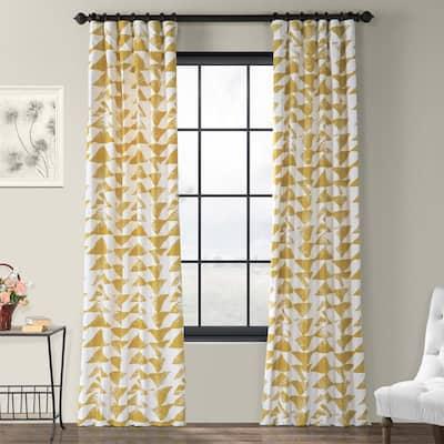 Triad Gold Geometric Rod Pocket Room Darkening Curtain - 50 in. W x 84 in. L