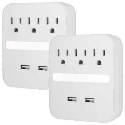 3-Outlet Surge Protector Wall Tap Adapter with USB and Night Light, 440J, 2 Ports, White, (2-Pack)