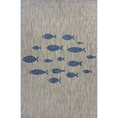 Catalina Gray/Blue 7 ft. 9 in. x 9 ft. 9 in. Aqua Fish Indoor/Outdoor Area Rug