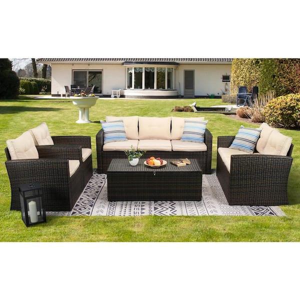 Boyel Living 5 Piece Wicker Outdoor, Outdoor Patio Furniture Set