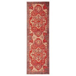 Polaris Red 2 ft. 6 in. x 8 ft. Medallion Runner Rug