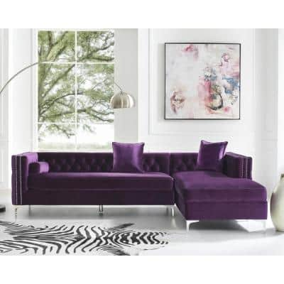 Olivia Purple/Silver Velvet 4-Seater L-Shaped Right-Facing Sectional Sofa with Nailheads