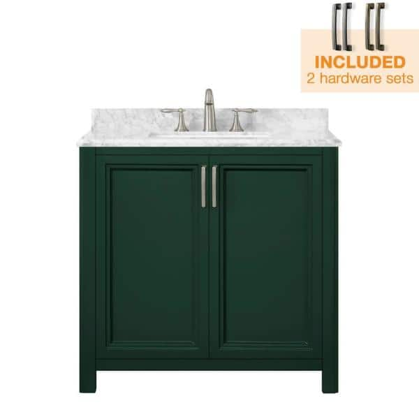 Home Decorators Collection Sandon 36 In W X 22 In D Bath Vanity In Emerald Green With Marble Vanity Top In Carrara White With White Basin Sandon 36eg The Home Depot