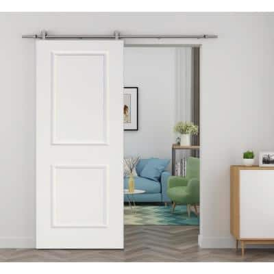 30 in. x 80 in. White Primed Composite Wood Barn Door Slab with Hardware Set