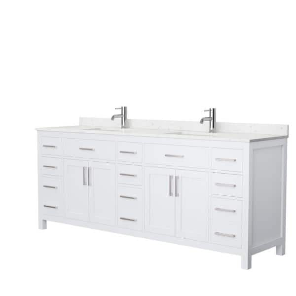 Wyndham Collection Beckett 84 In W X 22 In D Double Vanity In White With Cultured Marble Vanity Top In Carrara With White Basins Wcg242484dwhccunsmxx The Home Depot