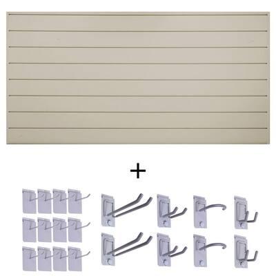 6 in. Basic Bundle 48 in. H x 96 in. W PVC Slat Wall Panel Set with Locking Hook Kit in Sandstone (20-Piece)