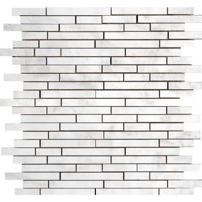 Marble Winter Frost Polished 12.01 in. x 12.99 in. x 10 mm Marble Mesh-Mounted Mosaic Tile (1.1 sq. ft.)