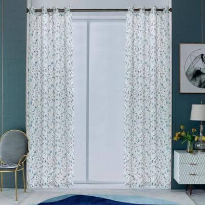 Alexxa 108 in.L x 54 in. W Sheer Polyester Curtain in Teal