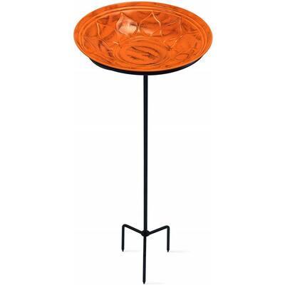 Monarch Sunset Orange Oasis Standing Bird Bath/Bird Feeder with Metal Stake Garden Decor