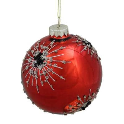 8 in. Red Glass Ball With Snowflakes Christmas Ornament