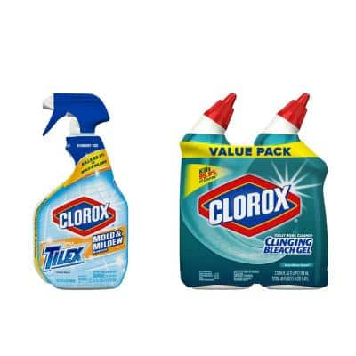 Mold and Mildew Solution Bundle with 32 oz. Clorox plus Tilex Spray and Clorox Toilet Bowl Clinging Bleach Gel (2-Pack)