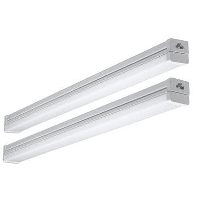 2 ft. 100-Watt Equivalent Integrated LED High Output White Strip Light Fixture 1800 Lumens 4000K Bright White (2-Pack)