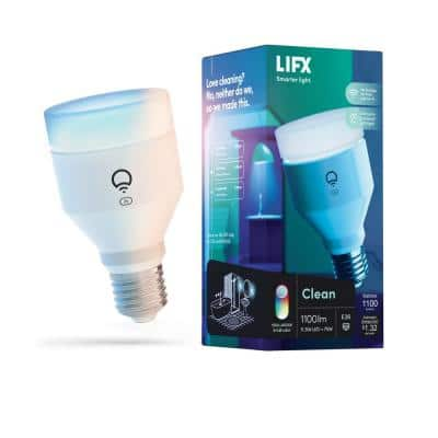 75-Watt Equivalent A19 CLEAN Multi-Color Dimmable Wi Fi Connected LED Smart Light Bulb, 1 Bulb