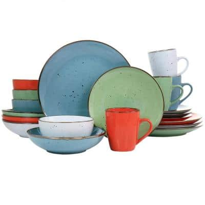 Evelyn 20 Piece Round Stoneware Dinnerware Set in Assorted Colors