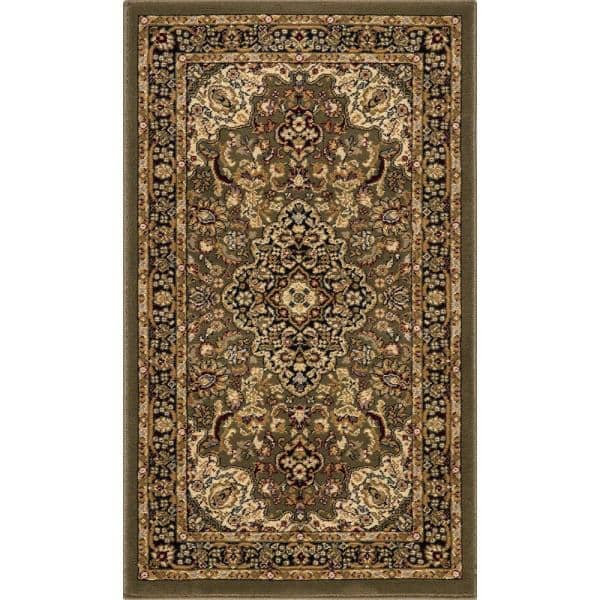 Home Decorators Collection Silk Road Green 2 Ft X 3 Ft Medallion Scatter Area Rug 30951 The Home Depot