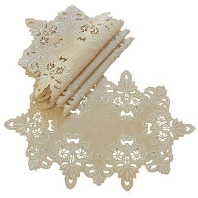 Victorian Lace 12 in. x 18 in. Placemats, Set of 4, Taupe