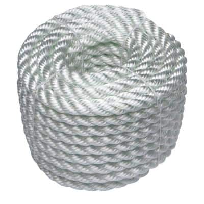 1/2 in. x 50 ft. Nylon Twist Rope, White