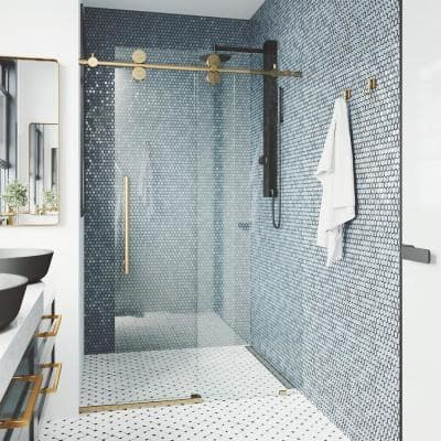 Elan 64 to 68 in. x 74 in. Frameless Sliding Shower Door in Matte Brushed Gold with Clear Glass and Handle