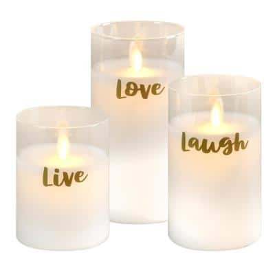 Moving Flame LED Glass Candles - Live Laugh Love (set of 3)
