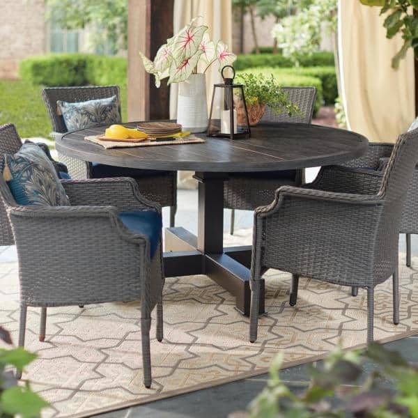 Hampton Bay Grayson 7 Piece Ash Gray Wicker Outdoor Patio Dining Set With Standard Midnight Navy Blue Cushions D19002 Newset The Home Depot