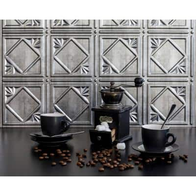 18.5'' x 24.3'' Artnouvo Decorative 3D PVC Backsplash Panels in Crosshatch Silver 9-Pieces