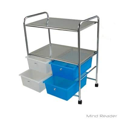 Double Shelf Metal 4-Wheeled Storage Drawer Cart with 4-Drawers in Silver