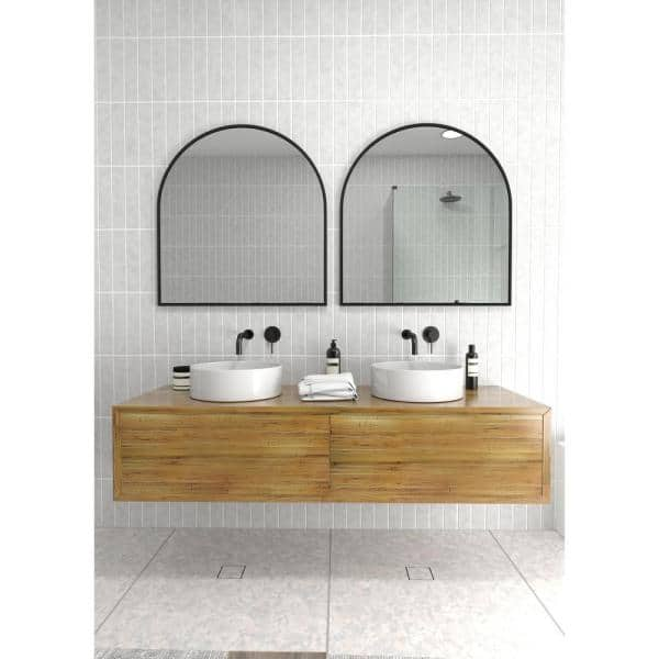 Glass Warehouse 30 In W X 32 In H Framed Arched Bathroom Vanity Mirror In Black Mf Arc 32x30 B The Home Depot