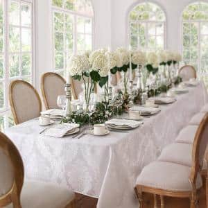 60 in. W x 144 in. L White Barcelona Damask Fabric Tablecloth